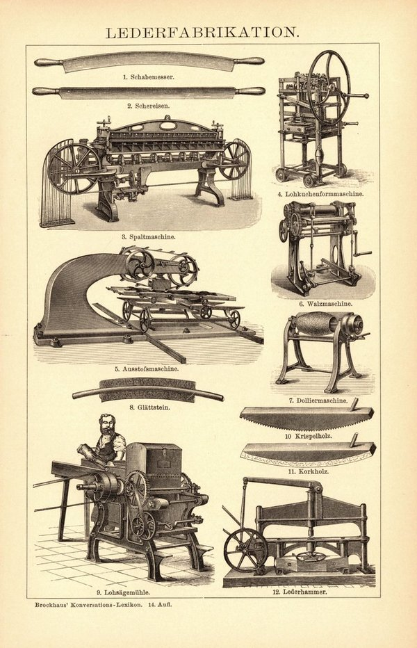 Lederfabrikation. Buchillustration (Stich) von 1897
